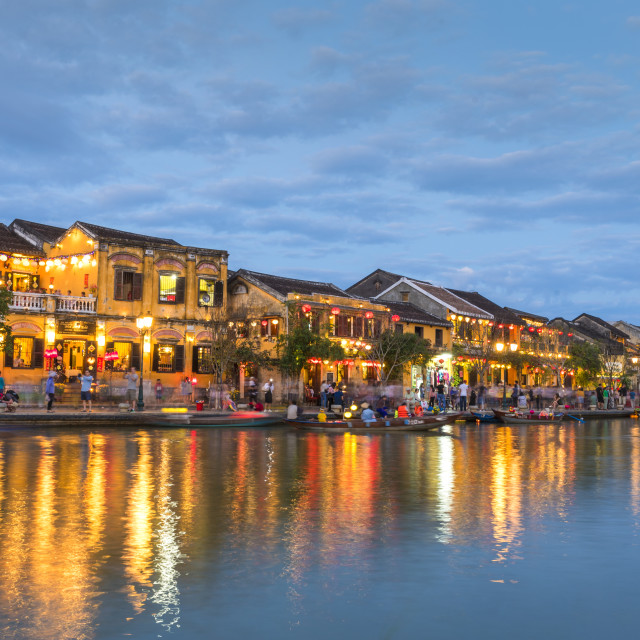 """view of river at night in Hoi An, Vietnam"" stock image"