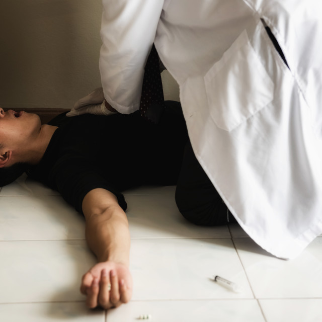 """""""doctor cpr to addicted drug man"""" stock image"""