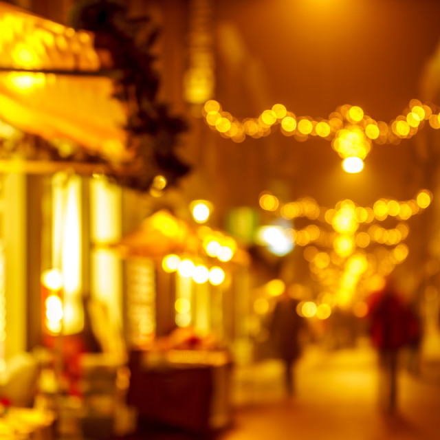 """""""Evening shopping street at Christmas"""" stock image"""