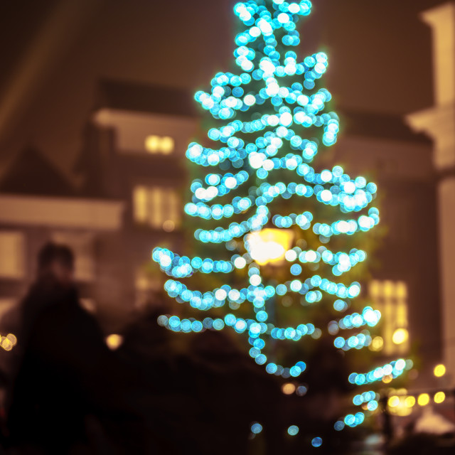 """Bokeh Christmas tree in city centre"" stock image"