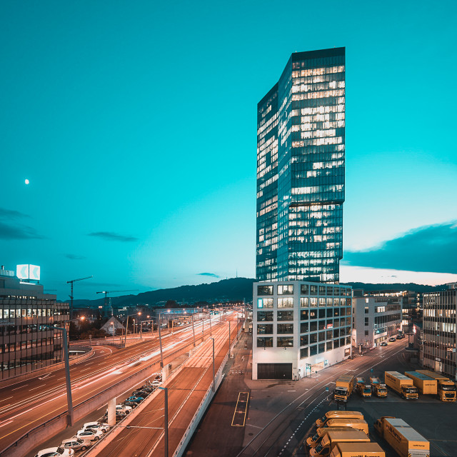 """Zurich at night"" stock image"