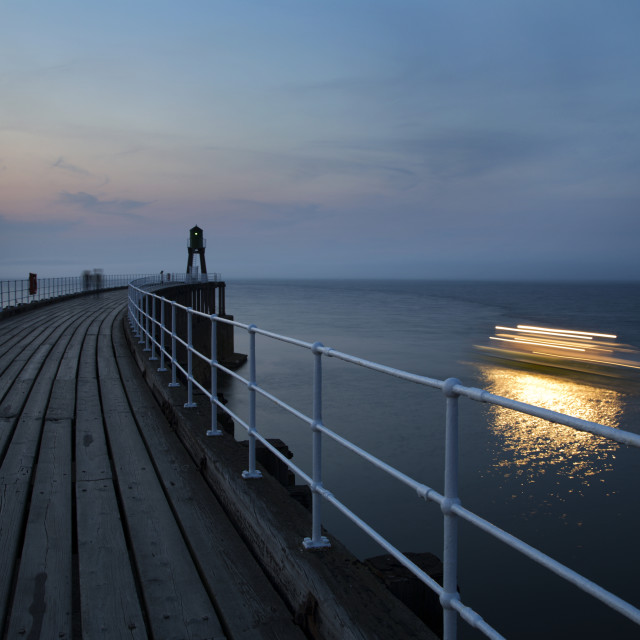 """""""The Twilight Cruise Leaves the Harbour at Whitby"""" stock image"""