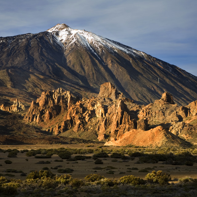 """Mount Teide and Los Roques de Garcia at Sunset"" stock image"