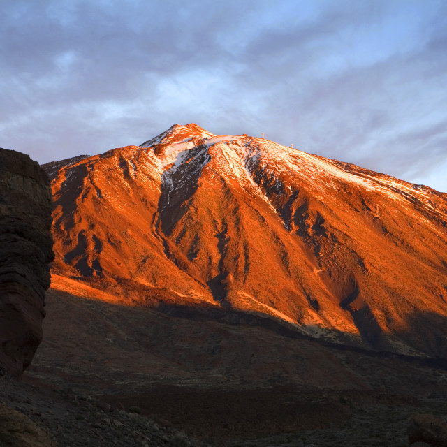 """Roque Cinchado and Mount Teide at Sunrise"" stock image"