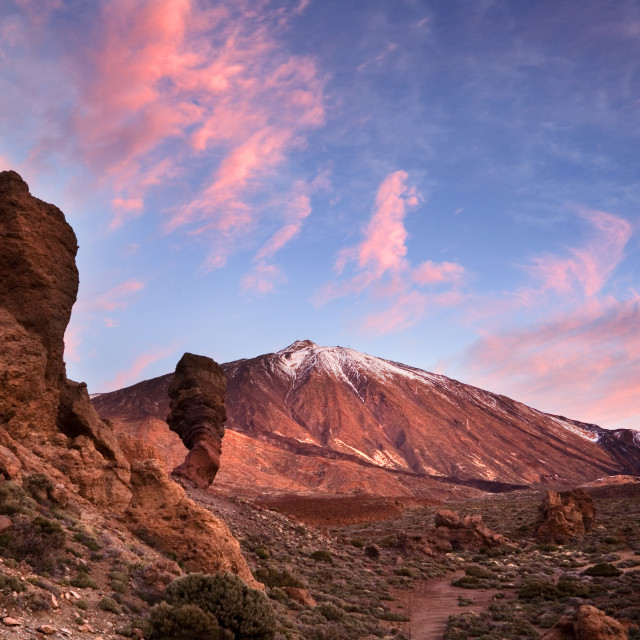 """Pink Clouds at Dawn over Mount Teide"" stock image"