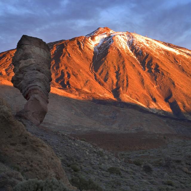 """""""Roque Cinchado and Mount Teide at Sunrise in Parque Nacional del Teide..."""" stock image"""