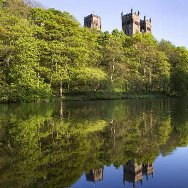 """""""Durham Cathedral in Spring Reflected in the River Wear"""" stock image"""