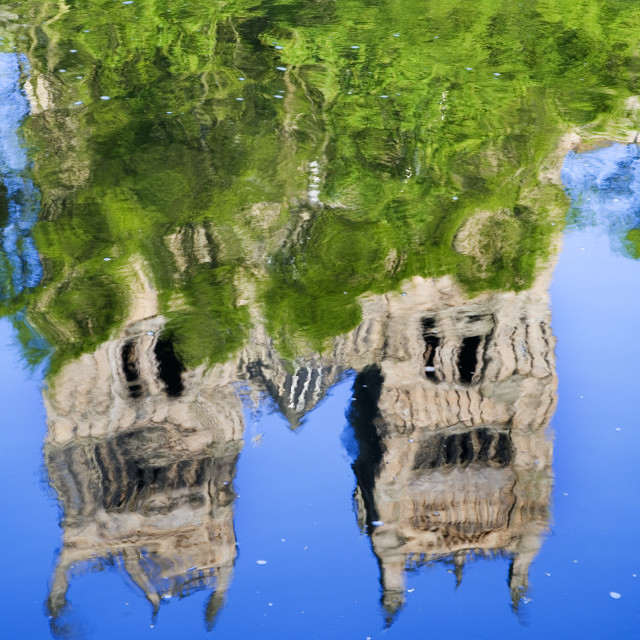 """""""Durham Catherdral in Spring Reflected in the River Wear"""" stock image"""