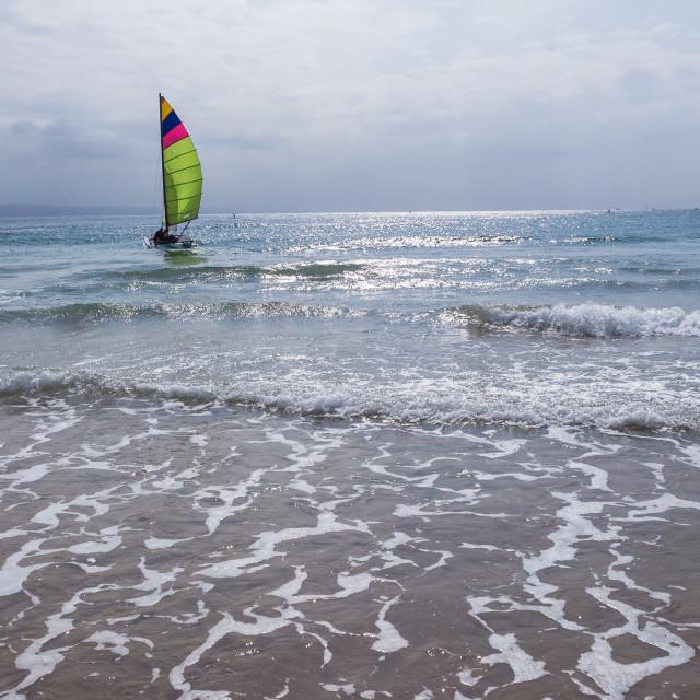 """Yacht Small Twin Hull Beach Ocean"" stock image"