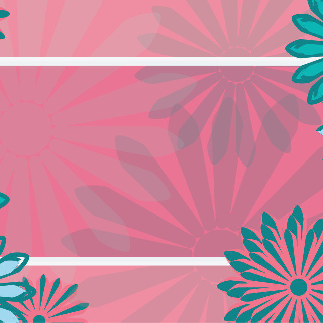 """""""flat art holiday card. Daisy on pink background. Design Template. illustration"""" stock image"""