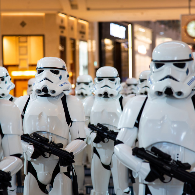 """""""Stormtroopers Star wars characters displayed in Dubai mall"""" stock image"""