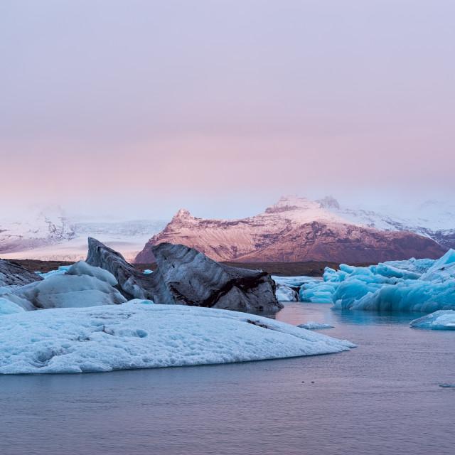 """Icebergs in the Jokulsarlon's lake, Iceland"" stock image"