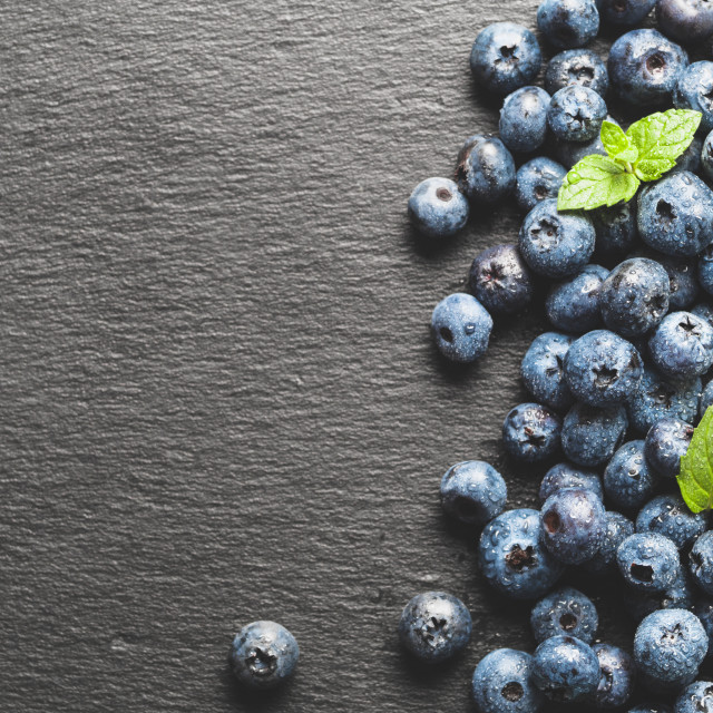 """blueberries on gray slate background, top view, copy space"" stock image"