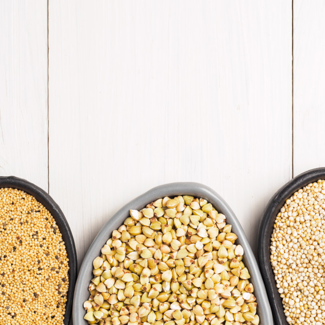 """Green buckwheat, amaranth seeds and quinoa"" stock image"