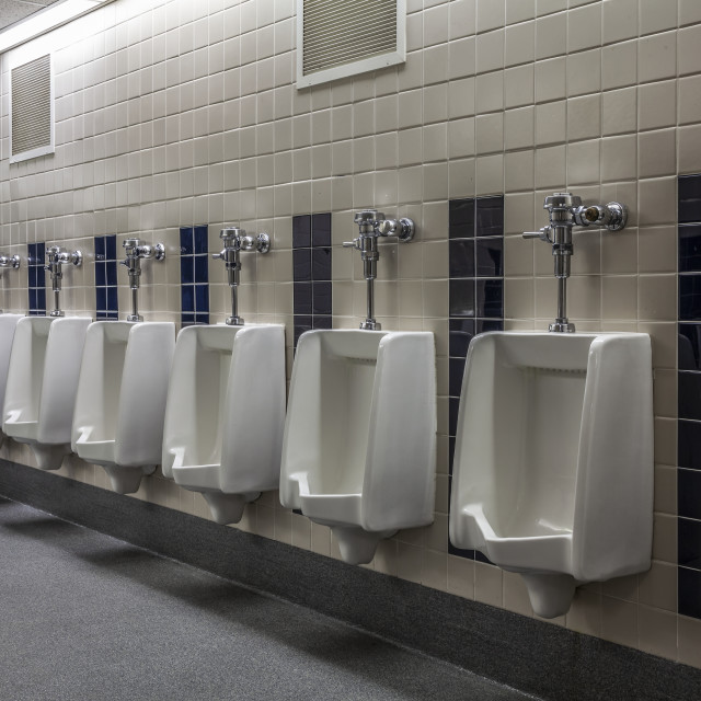"""""""Urinals in a gymnasium bathroom; Connecticut, United States of America"""" stock image"""