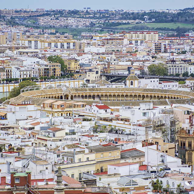 """""""Rooftops across Seville, with Seville Bullring (Plaza de Toros) in the..."""" stock image"""