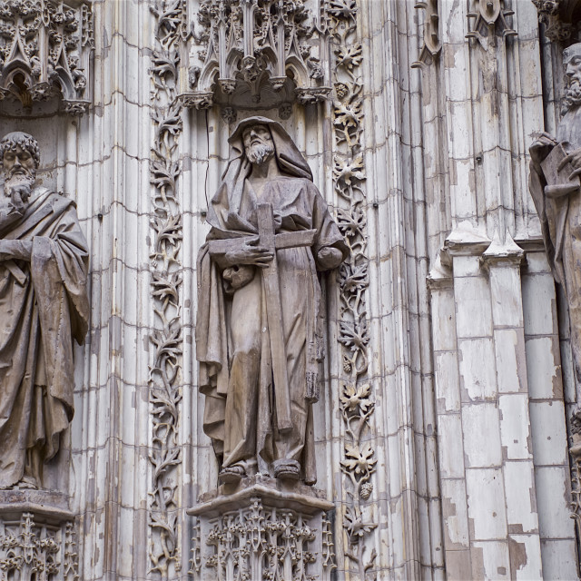 """""""Carvings around the main door, Door of the Assumption, Seville Cathedral;..."""" stock image"""