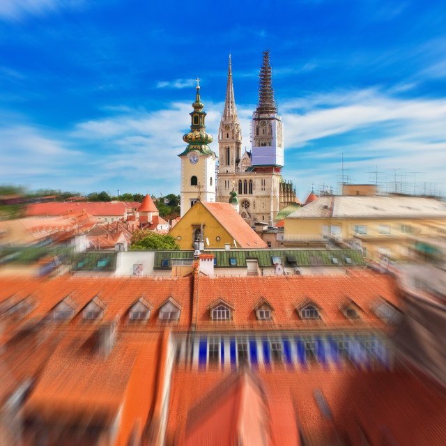 """""""Capital of Croatia Zagreb cathedral radial blur view from upper town"""" stock image"""