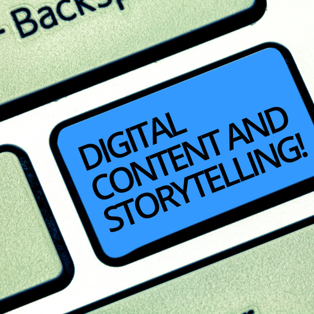 """""""Writing note showing Digital Content And Storytelling. Business photo..."""" stock image"""
