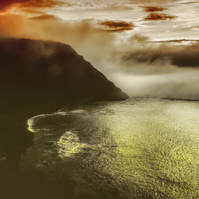 """""""Cliffs in the fog"""" stock image"""