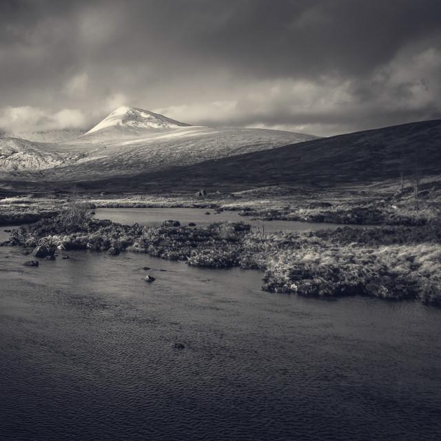"""Snow covered mountains, Glenco Scotland"" stock image"