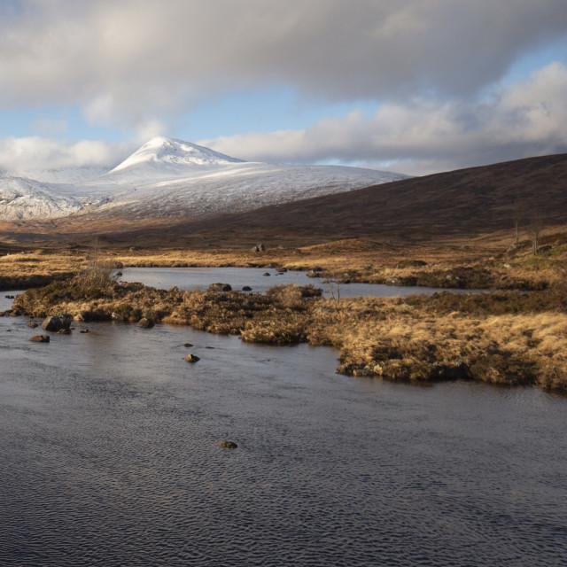 """Snow covered mountains, Glencoe Scotland"" stock image"