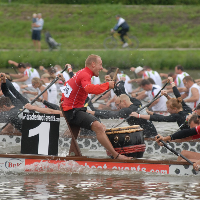 """Dragonboating - European Championships - Amsterdam French premier mixed team."" stock image"