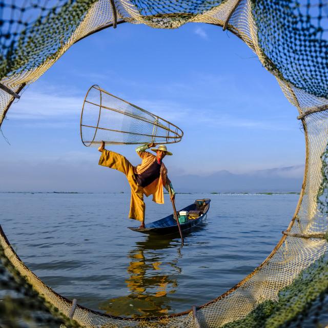 """""""Fisherman on Inle Lake"""" stock image"""