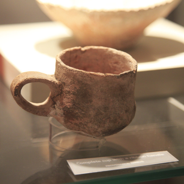 """""""Stone cup with handle neolithic find, National Museum of Archaeology,..."""" stock image"""