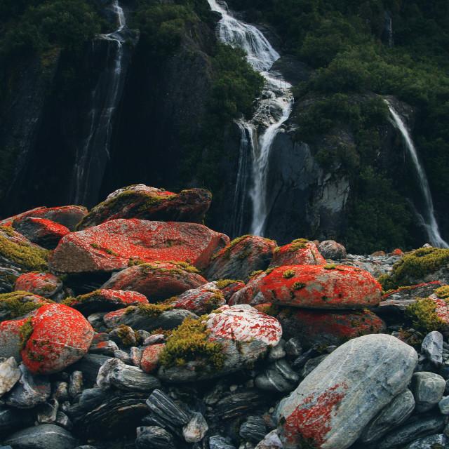 """FR Smokey Red Moss Glacier"" stock image"