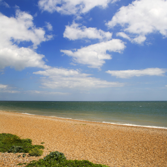 """Beach and Sky at Aldeburgh"" stock image"