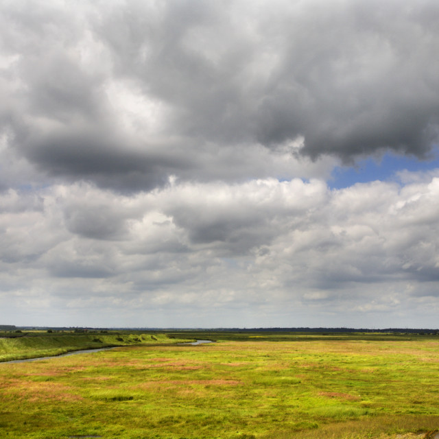 """Summer Rainclouds at Aldeburgh Marshes"" stock image"