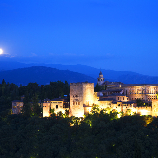 """Moonrise over the Alhambra Palace Granada"" stock image"