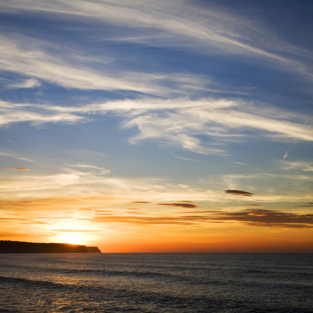 """Summer Sunset at Whitby"" stock image"