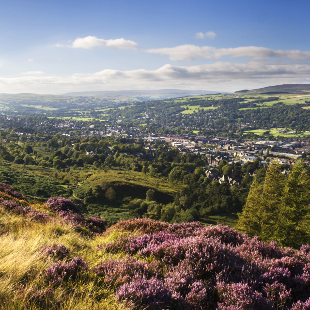 """Ilkley from Ilkley Moor"" stock image"