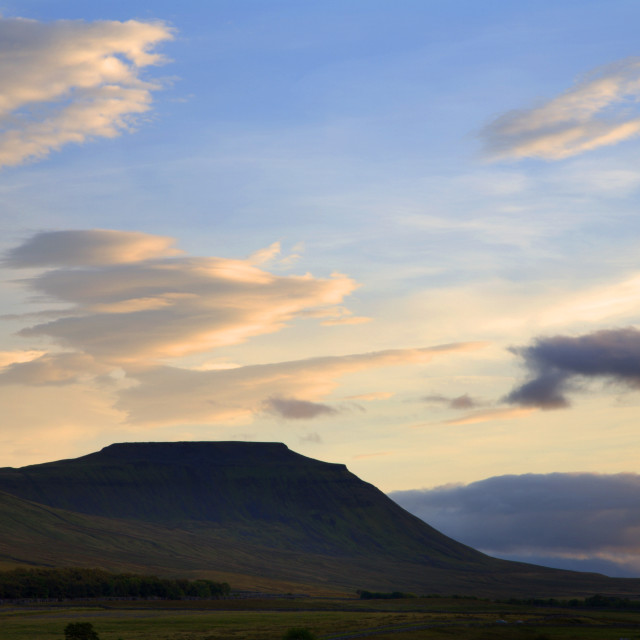 """Ingleborough in Summer Yorkshire Dales England"" stock image"