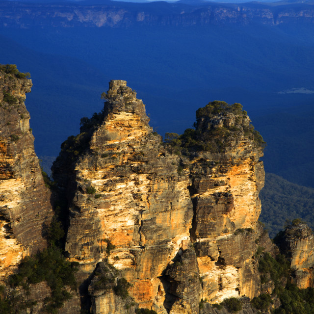 """The Three Sisters in the Blue Mountains"" stock image"
