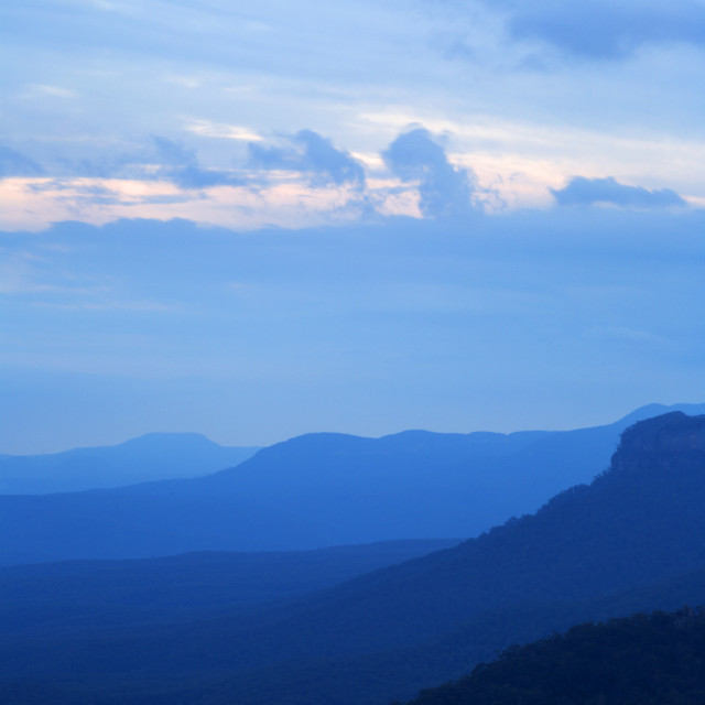 """The Blue Mountains at Dusk"" stock image"