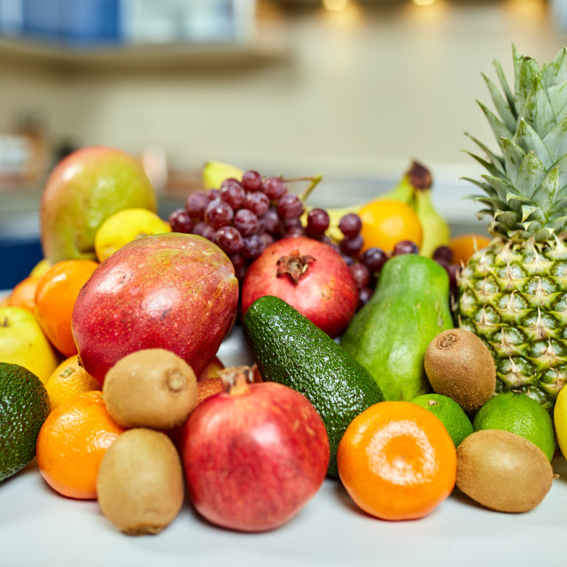 """""""Exotic fruits on the table in the kitchen"""" stock image"""