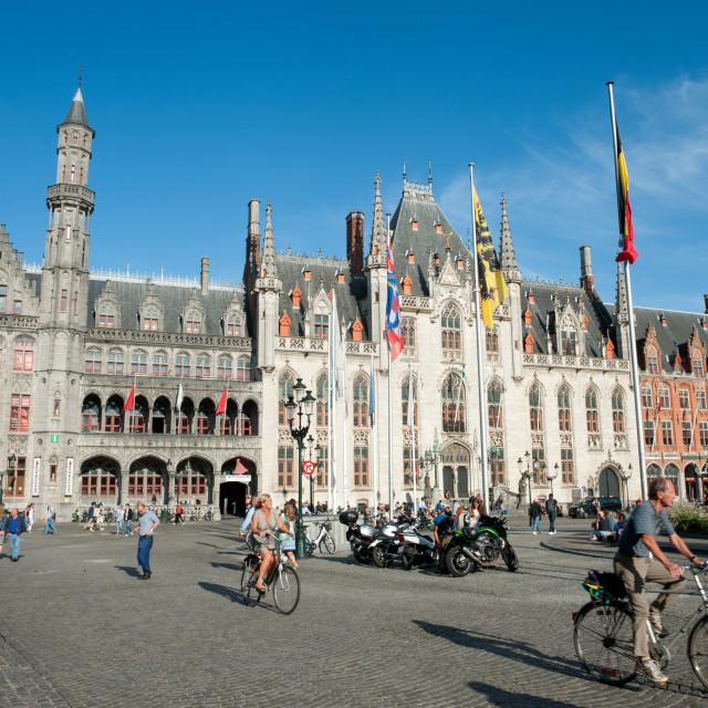 """""""Brugge (Bruges) Belgium. Markt, Market Square, Provincial Court (Hof)..."""" stock image"""