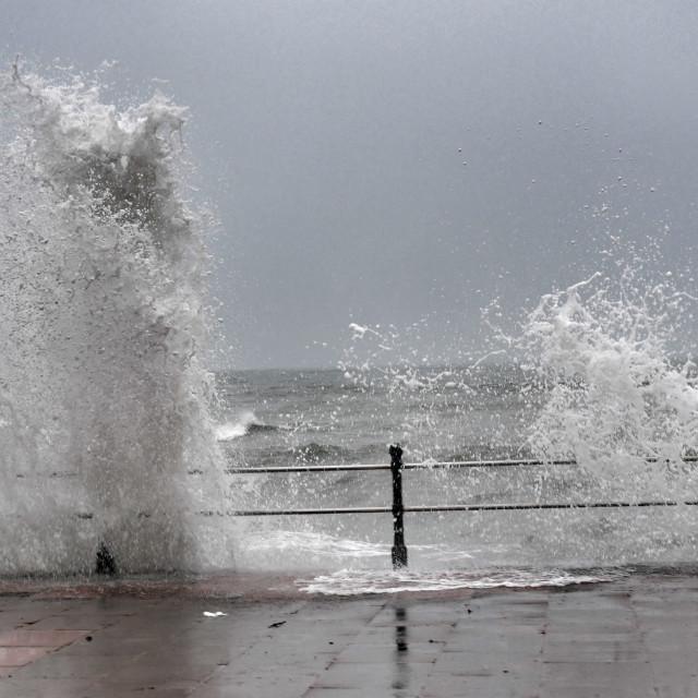 """Winter crashing waves"" stock image"