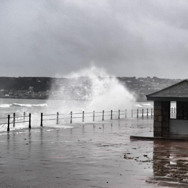 """""""Stormy seas on Penzance promenade"""" stock image"""