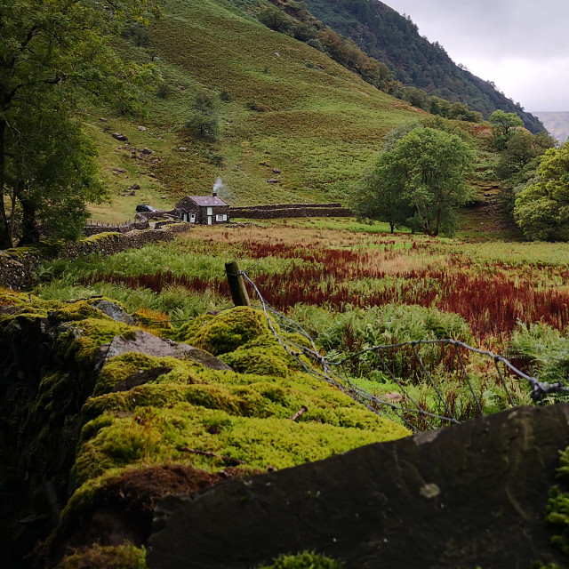 """Lake District Landscape with Cottage"" stock image"