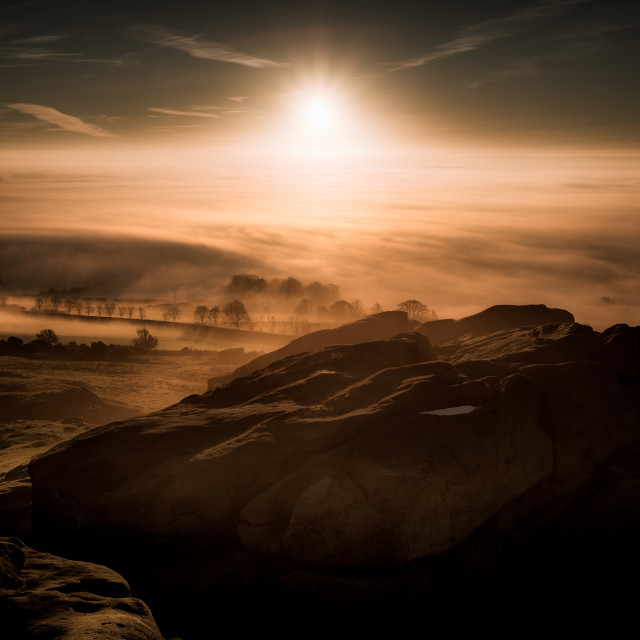 """Sunrise over Armscliffe Crag in North Yorkshire"" stock image"