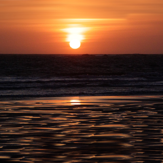 """""""Sunset over sea and beach"""" stock image"""