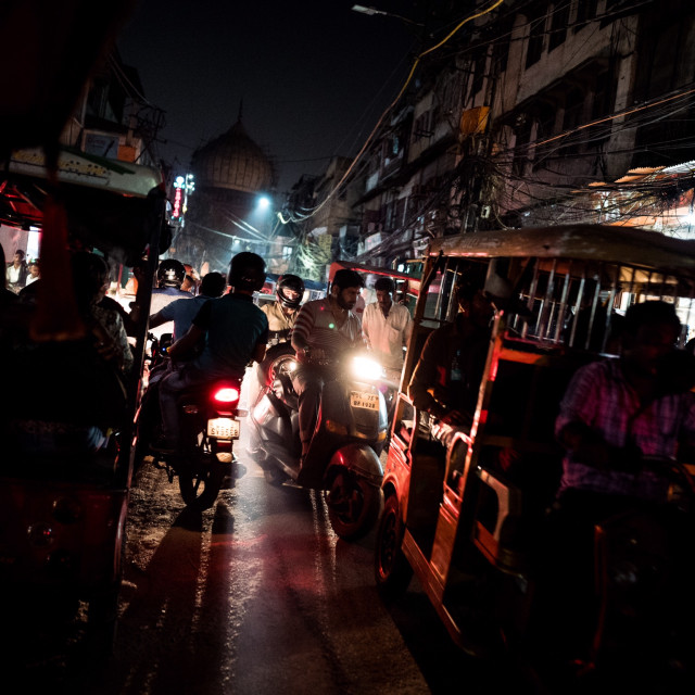 """The tuk tuks of Old Delhi"" stock image"