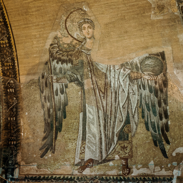 """Archangel Gabriel in the apse of Hagia Sofia"" stock image"