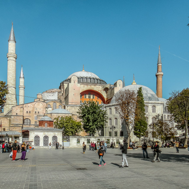 """Tourists in the square in front of the famous Hagia Sofia"" stock image"