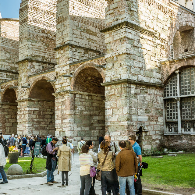 """""""Tourists in front of the entrance of Hagia Sofia"""" stock image"""