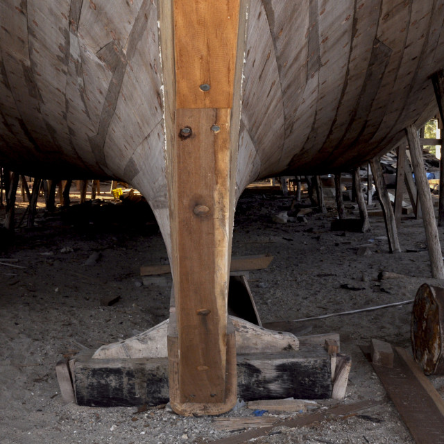 """""""dhow hull in boatyard Sur"""" stock image"""